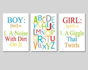 Boy Girl Alphabet Trio - Set of Three 13x19 Prints - Kids Wall Art - Boy Definition A Noise With Dirt - Girl Definition - CHOOSE YOUR COLORS