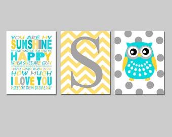 Owl Nursery Art You Are My Sunshine Chevron Initial Monogram Polka Dot Owl Trio - Set of Three 8x10 Prints - Choose Your Colors