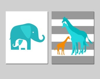 Turquoise Nursery Art Elephant and Giraffe Family Nursery Decor Set of 2 Prints Mommy and Baby Elephants Giraffe Family - CHOOSE YOUR COLORS