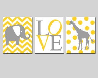 Elephant Giraffe Love Nursery Art Trio - Chevron Elephant, Love, Polka Dot Giraffe - Set of Three 11x14 Prints - CHOOSE YOUR COLORS