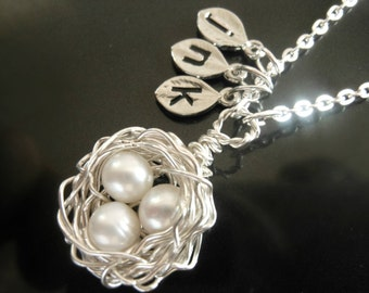 Personalized Initial Bird Nest Necklace with 3 Three White Pearls in Sterling Silver Monogrammed Stamped Leaf Charms