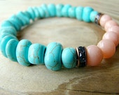 Peach and Turquoise Stretch Bracelet.  Turquoise Howlite, Peach Mountain Jade & Rhinestone Beaded Stack Bracelet. Boho Chic Gypsy Bracelet