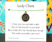 """Lucky Charm - Wish Bracelet With Golden """"LUCK"""" Coin - Shown In The Color HERBS  - Over 100 Different Colors Are Also Available"""