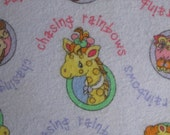 """Adorable Precious Moments Cotton Flannel Fabric Children Kids Baby Lions Monkeys Giraffes 45"""" wide BTY Lavender"""