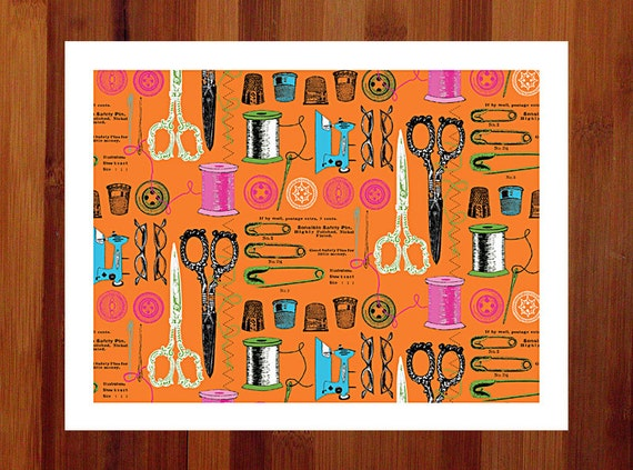 Craft Room Art, Charming Necessities, Orange and Turquoise Art Print, Whimsical Print, Giclee Print, Gift for Sister, 8.5x11,Orange and Teal
