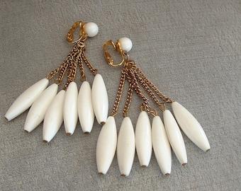 Vintage Multiple Drops / Dangle Earrings in Bright White