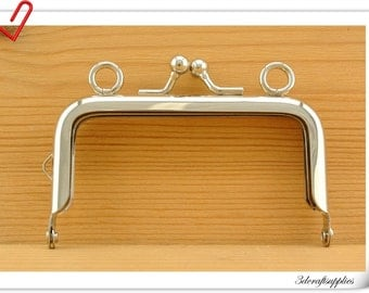 Nickel purse frame handbag frame purse frames <with loops>  8 cm x 4.5 cm Z76