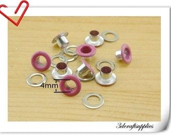 4mm Hot pink  Eyelet  grommet  Grommets eyelets 100 sets AC72J