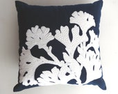Navy Blue coral reef pillow cover STOCK CLEARANCE 20% OFF-  beach pillow, nautical decor beach house throw pillow. 20x20 in 1 in stock