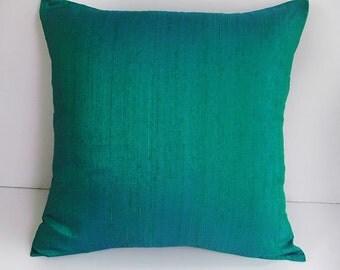 peacock green decorative  dupioni silk pillow cover. Luxury pillow cover. Peur row silk custom  made  throw pillow.   18inch