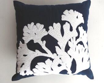 Navy Blue coral reef pillow cover . beach pillow, nautical decor. beach house throw pillow. 20x20 custom made