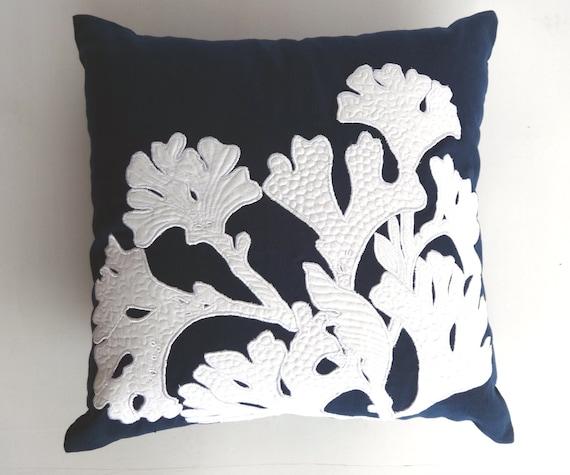 Navy Blue and White  coral pillow cover  beach pillow , beach decor, nautical decor beach house throw pillow. Custom made size.20 inch