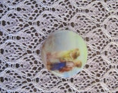 Children on the Beach Cameo Beachy Cabochon Children on Beach Cabochon Fine Porcelain Cameo 27mm.