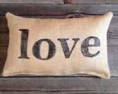 Love Pillow, Decorative Pillows, Gift For Her, Gifts Under 25, Valentine's Day, Valentine's Day Decor, Burlap Pillow, Throw Pillow, Rustic