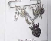 Knitting Themed Brooch - Knitting Diva - Gift for Knitter - Knitting Jewelry - Secret Sister Gift - Guild Gift Exchange