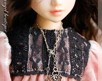 """Long Chain Necklace with Silver Cross and Lock Pendant for 16"""" dolls"""