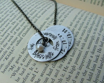 My Blessings From Heaven Custom Hand Stamped Mother's or Grandmother's Aluminum Washer Necklace by MyBella