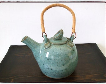 Turquoise Teapot with Bamboo Handle by misunrie-Reserved List