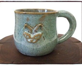 Turquoise Cat Meow Mug by misunrie