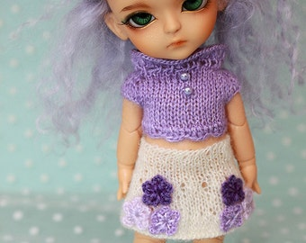 Clearence SALE - Lati Yellow PukiFee -Sweet Flowers - Mohair Top and Skirt SET - LAVENDER - Limited