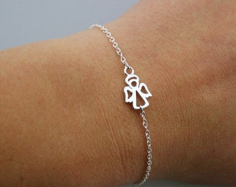 Sterling Silver Tiny Angel Bracelet - Guardian Angel Bracelet - Adjustable Bracelet