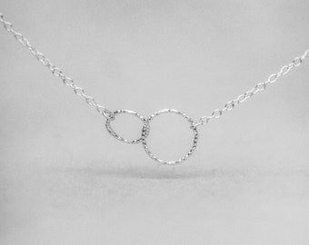 Two Entwined Circles Sterling Silver Necklace - Infinity Necklace - Karma Necklace