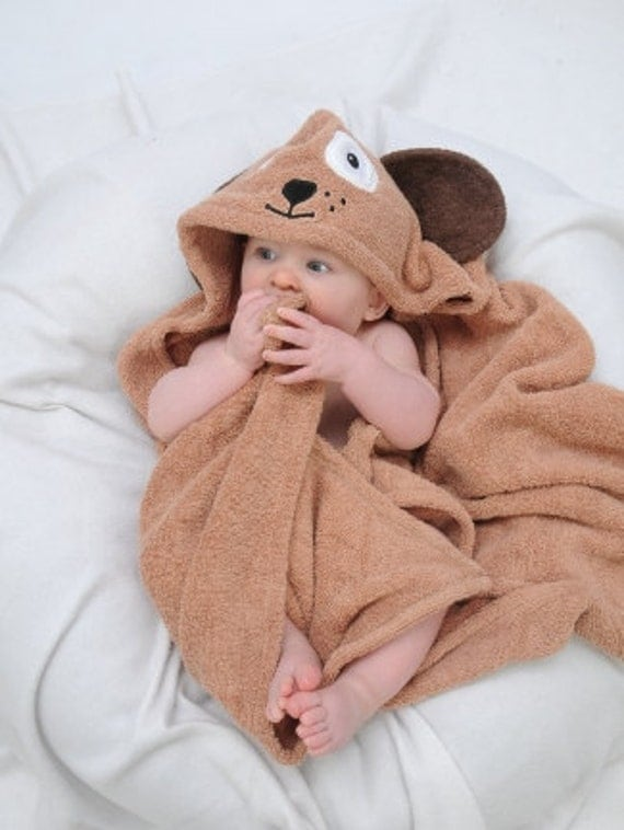 Personalized Infant Dog hooded towel