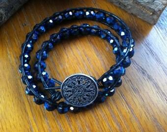 Metallic Midnight Blue Double Wrap Bracelet with Silver Button