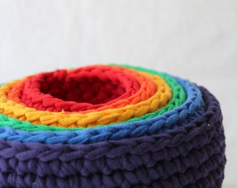 roygbiv nesting bowls for baby, made from crocheted up-cycled t-shirts by yourmomdesigns educational games - waldorf - montessori play