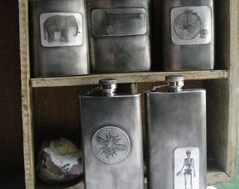 Batch No. 3 Assorted Flasks in Etched & Embossed Designs