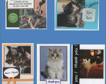 Cat Themed Thanks for Pet Sitting Cards - 5 Variations of Card - Free Shipping in USA