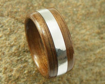 Bentwood Mens Ring Walnut with 3mm Wide Sterling Silver inlay