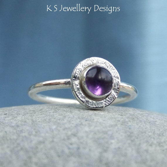 amethyst sterling silver stacking gemstone by