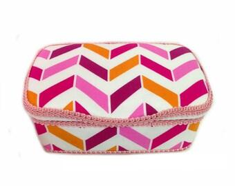 herringbone diaper case Pink chevron Modern gift baby Nursery herringbone wipes box baby girl shower gift chevron clutch