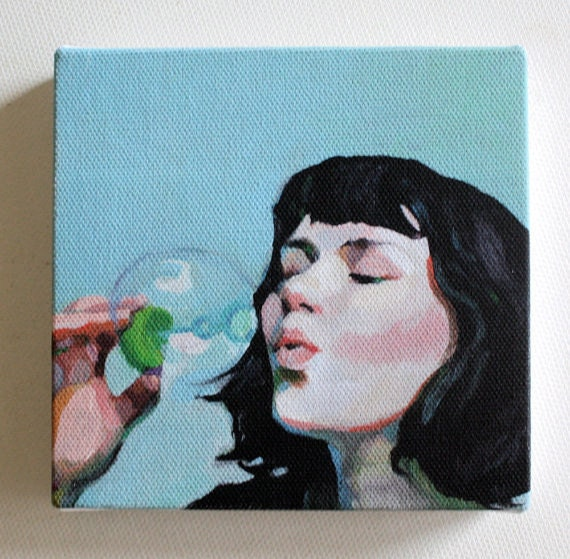 Jenny / Tiny canvas print   -Portrait print painting -Print of Original acrylic painting -CANVAS ART PRIN-  wall hanging