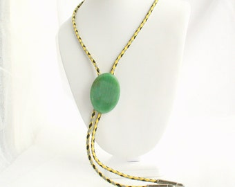 Green Agate Bolo Tie Slide Vintage Bola Yellow Gray Black Leather