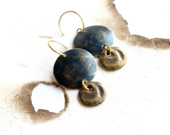 SALE - Rustic Black Dangle Drop Earrings Dark Patina Round Circle Brass Coin Boho Jewellery