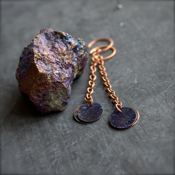 Dark Blue Patina Chain Dangle Drop Earrings Copper Round Circle Disk Sky Handmade Fashion Jewellery