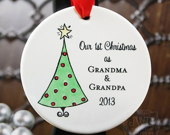 Grandma and Grandpa Ornament First Christmas as Grandparents Ornament Personalized Porcelain Ornament Christmas Tree -  Item# XTR-GG-O