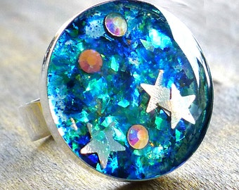 Starry Night Galaxy Ring -  Blue Glitter and Stars Adjustable Ring - Large Blue Star Ring - Teen Ring - Glitter Ring - Blue Sparkle Ring