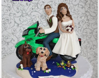 Motorcycle Wedding Cake Topper with 2 pets, Personalized, Custom
