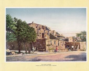 1927 Print of the Hopi House, Grand Canyon National Park, Arizona. FREE U.S. SHIPPING