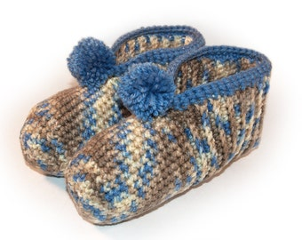 Blue and Tan Crocheted Slippers - Sand, Cream, Sandpiper, Variegated, Crochet, Adult