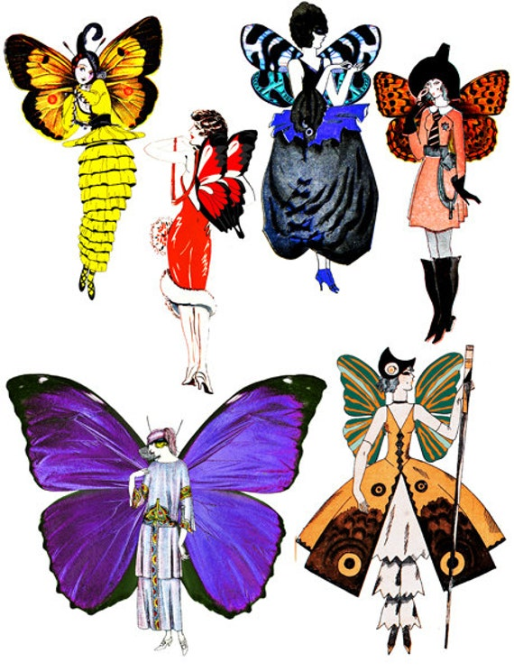 flapper deco fairy girls digital download collage sheet graphics Printable Images die cuts clipart cut outs scrapbooking  altered art