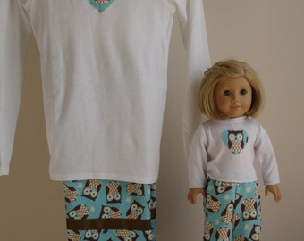Adorable Owls Matching Pajama Set for Girl and Doll with matching shirts  Brown/Blue