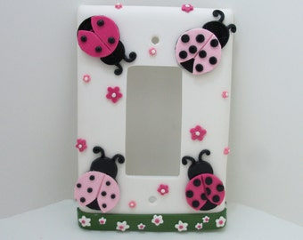 Lady Bug Light Switch Cover or Outlet cover - Pink and Black- Ladybug Nursery - Childrens Lady Bug Themed Room Decor - Toggle or Rocker