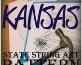 "DIY State String Art Pattern - KANSAS - 10"" x 5.5"" - Hearts & Stars included"