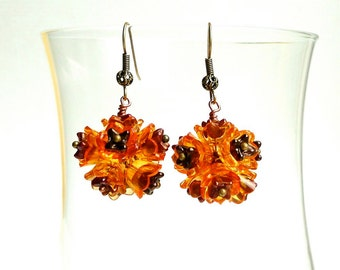 Tagetes -- Orange Flower Dangling Earrings