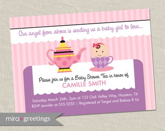 Tea Party Baby Shower Invitation - Printable Digital File