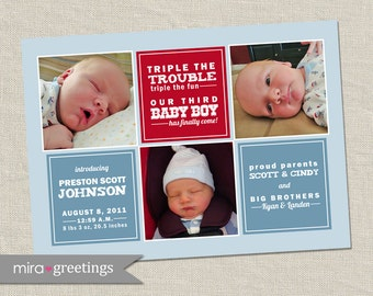 Third Boy Birth Announcement - Printable Digital File